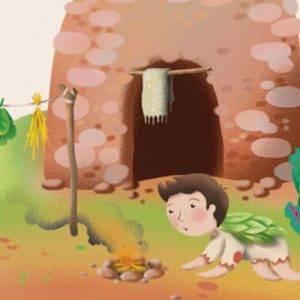 Ilustración de un niño encendiendo un fuego