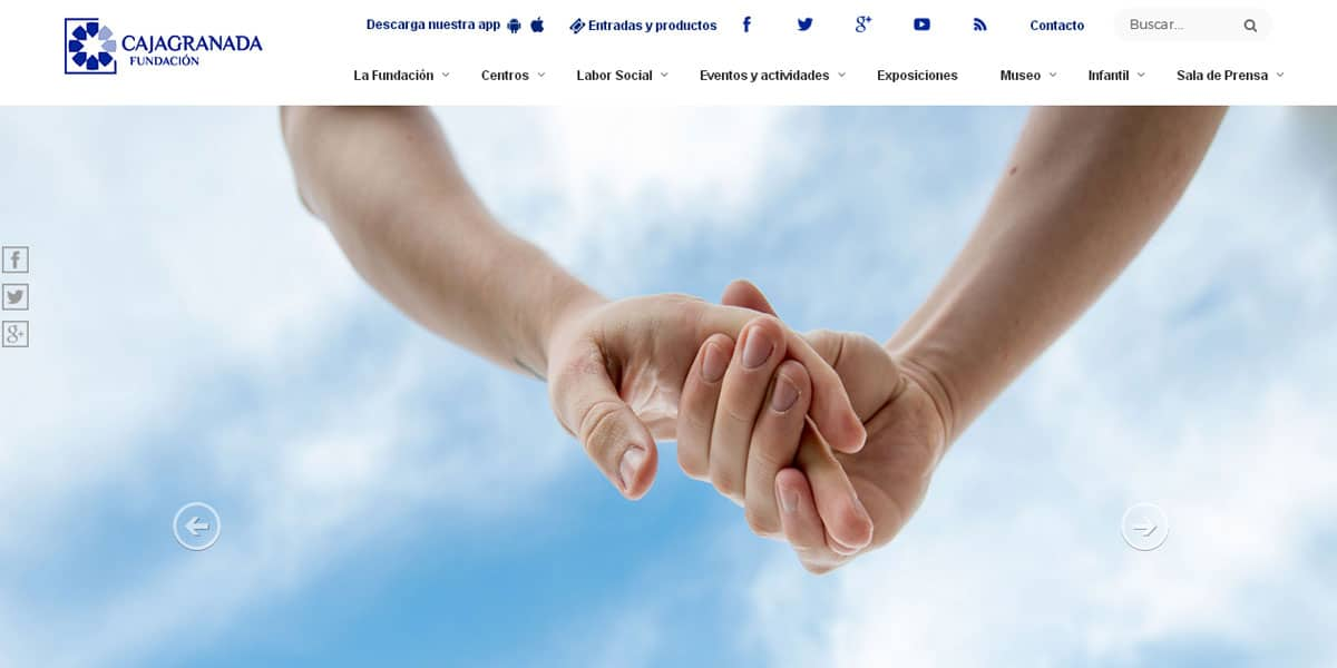 Portada de la nueva web de CAJAGRANADA Fundación