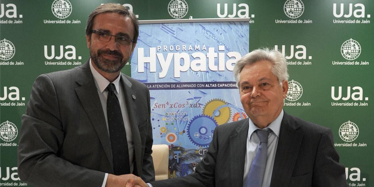 El rector de la Universidad de Jaén, Juan Gómez Ortega y el Presidente de CAJAGRANADA Fundación, Antonio Jara Andréu