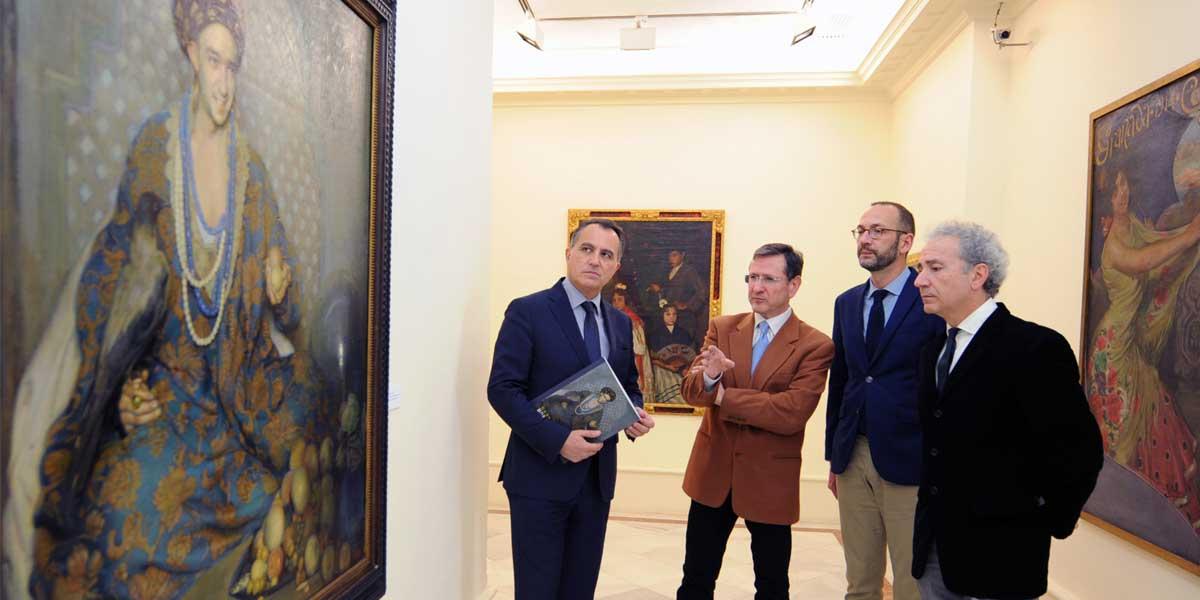Presentación de la exposición de Morcillo con Diego Oliva, a la izquierda, y los tres comisarios de la muestra