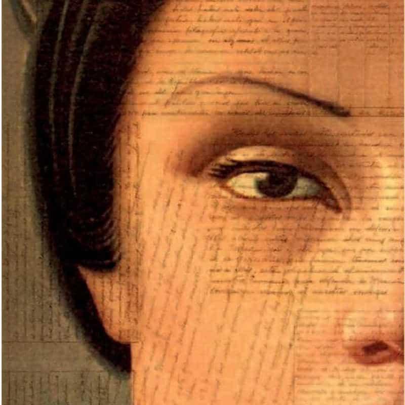 Detalle de una ilustración de un rostro de una mujer