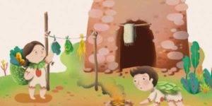 Ilustración de un niño encendiendo un fuego y una niña secando unas hojas