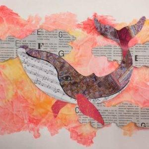 Collage con la forma de una ballena