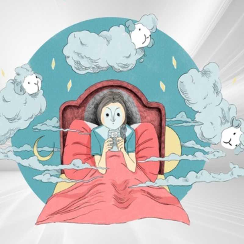 Ilustración de una persona en la cama
